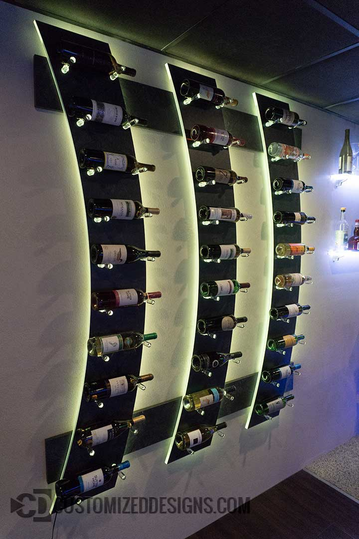 Wall Mounted Wine Bottle Display