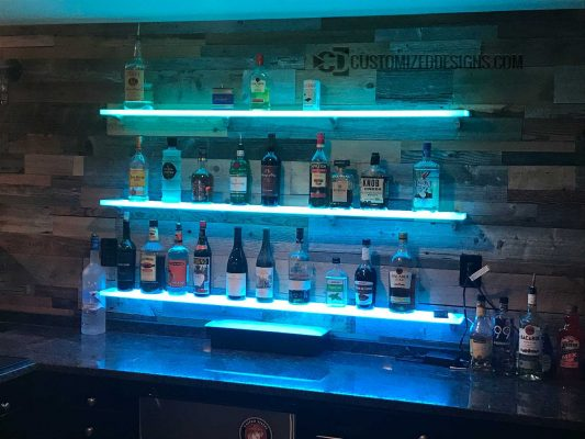 LED Shelving Rustic Home Bar