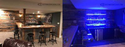 LED Shelving - Lighting Turned Off vs. Turned On