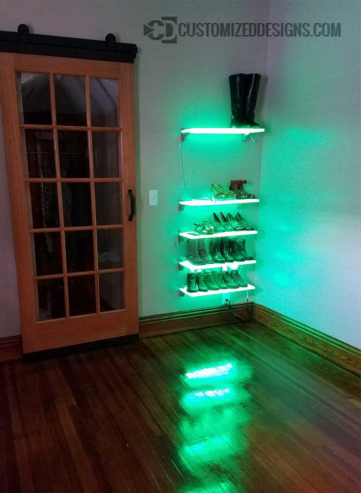 Lighted Shelves Displaying Shoes