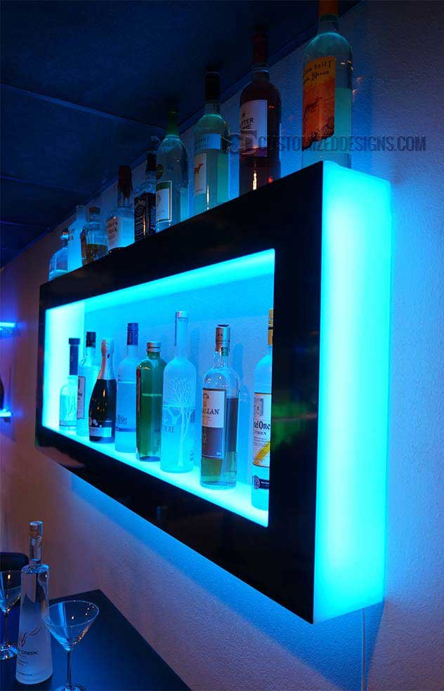 LED Wall Display Shelves with Cyan Lighting