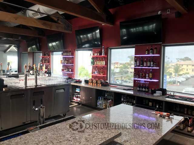 LED Wine Glass Bar Shelving