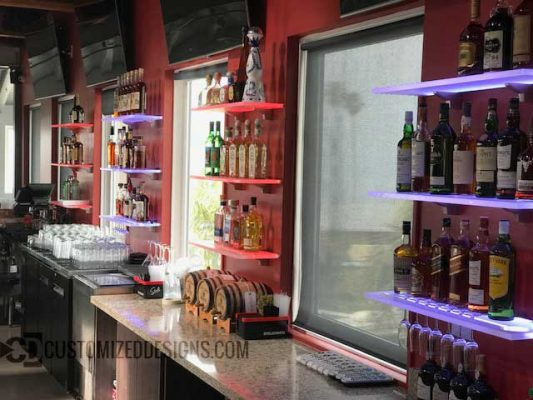 LED Wine Glass Bar Shelving