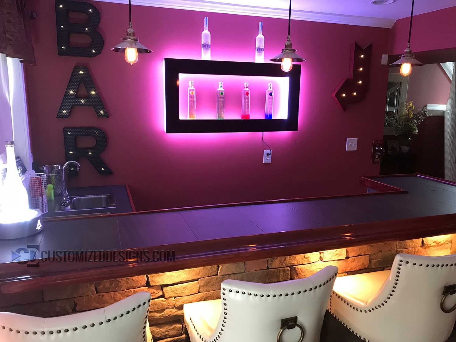 Lighted Back Back Home Bar Wall Display