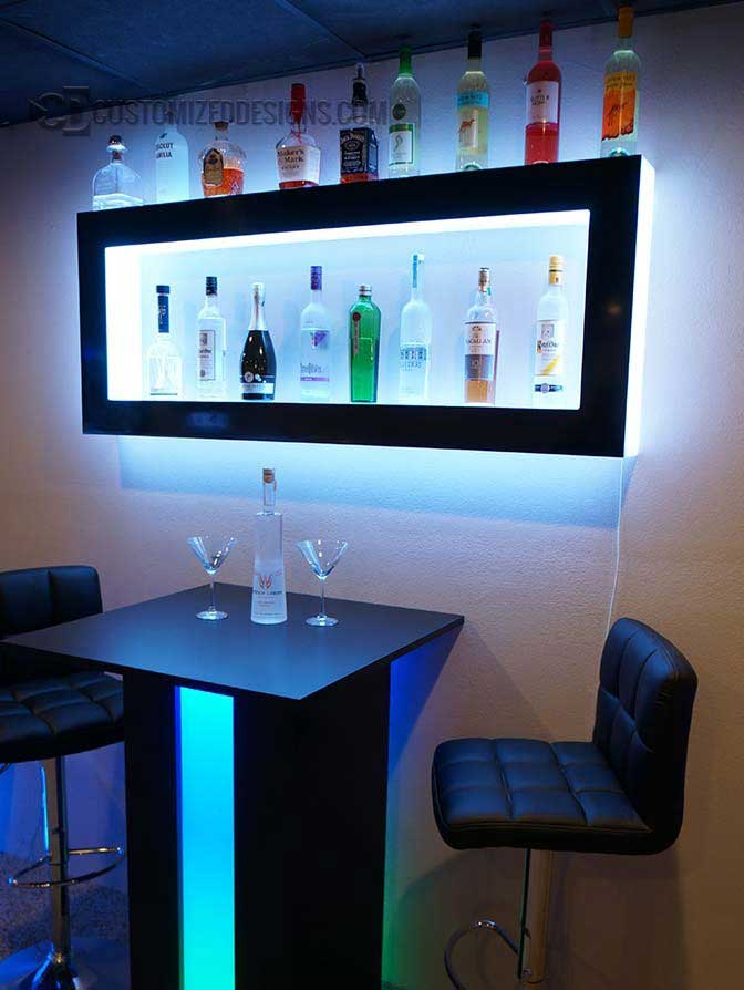 Lighted Back Bar Wall Display Shelves Led Lighting Modern Design