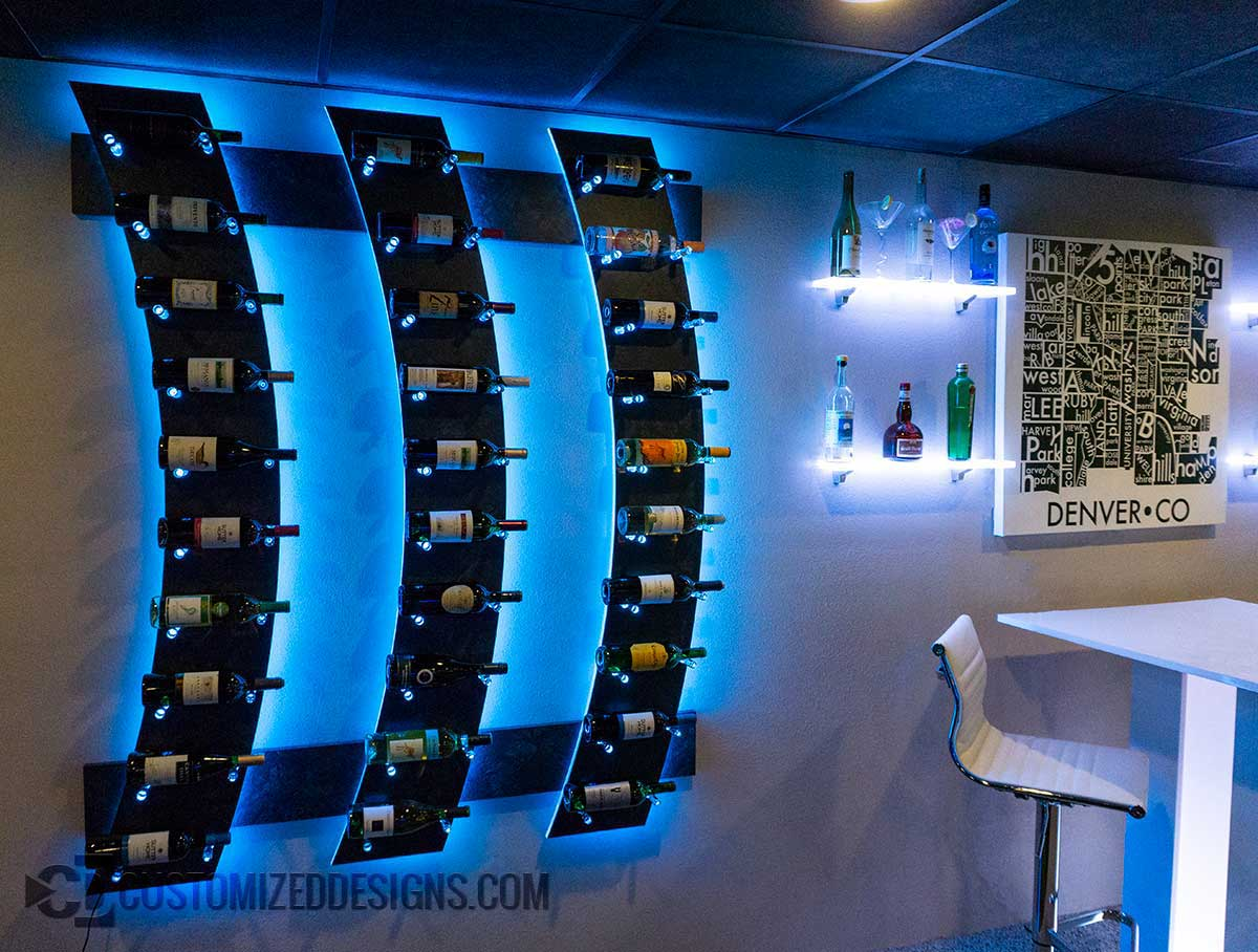 LED Lighted Wine Bottle Rack