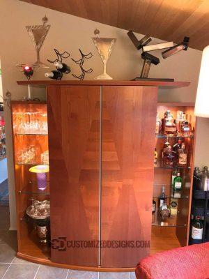 Low Profile Built In Liquor Cabinet Cherry Finish