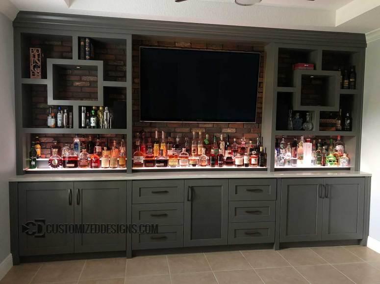 Modern Home Bar w/ Low Profile Liquor Shelving