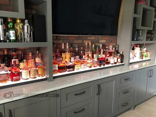 Modern Home Back Bar Liquor Shelving
