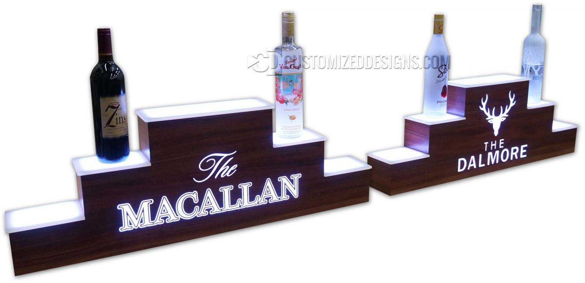 Macallan Dalmore Pyramid Style Displays w/ Vantage Point Walnut Finish
