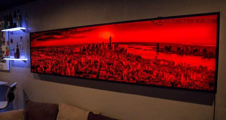 NYC Manhattan Skyline - Red Lighting