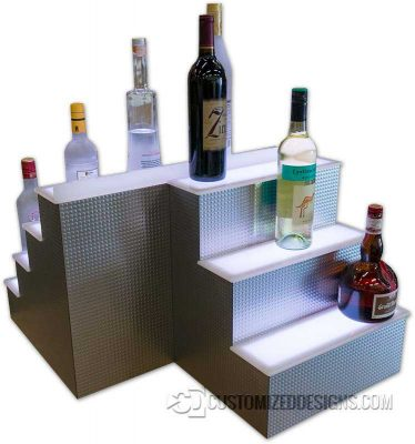 Custom 3 & 4 Tier Liquor Display w/ Metropolis Metal Finish