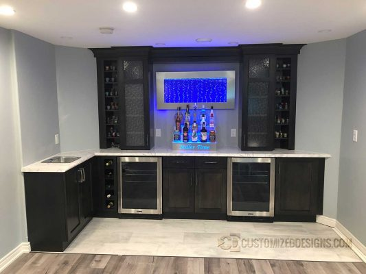 Modern Home Bar w/ Stainless Appliances