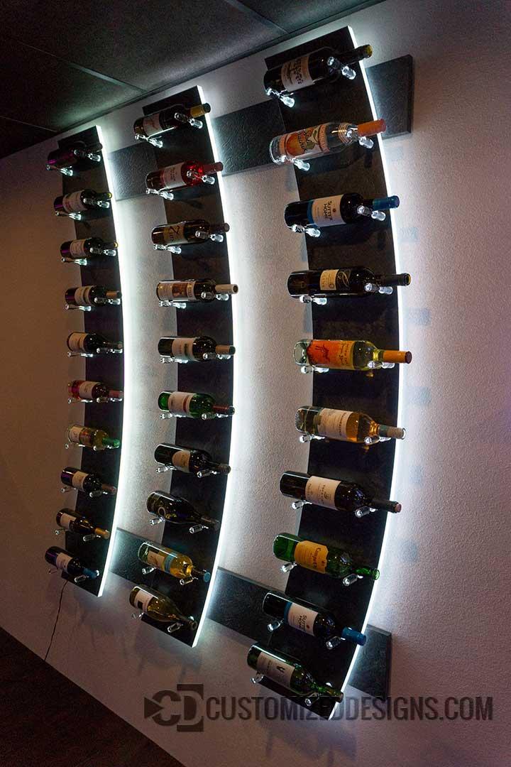 Modern Lighted Wine Bottle Rack