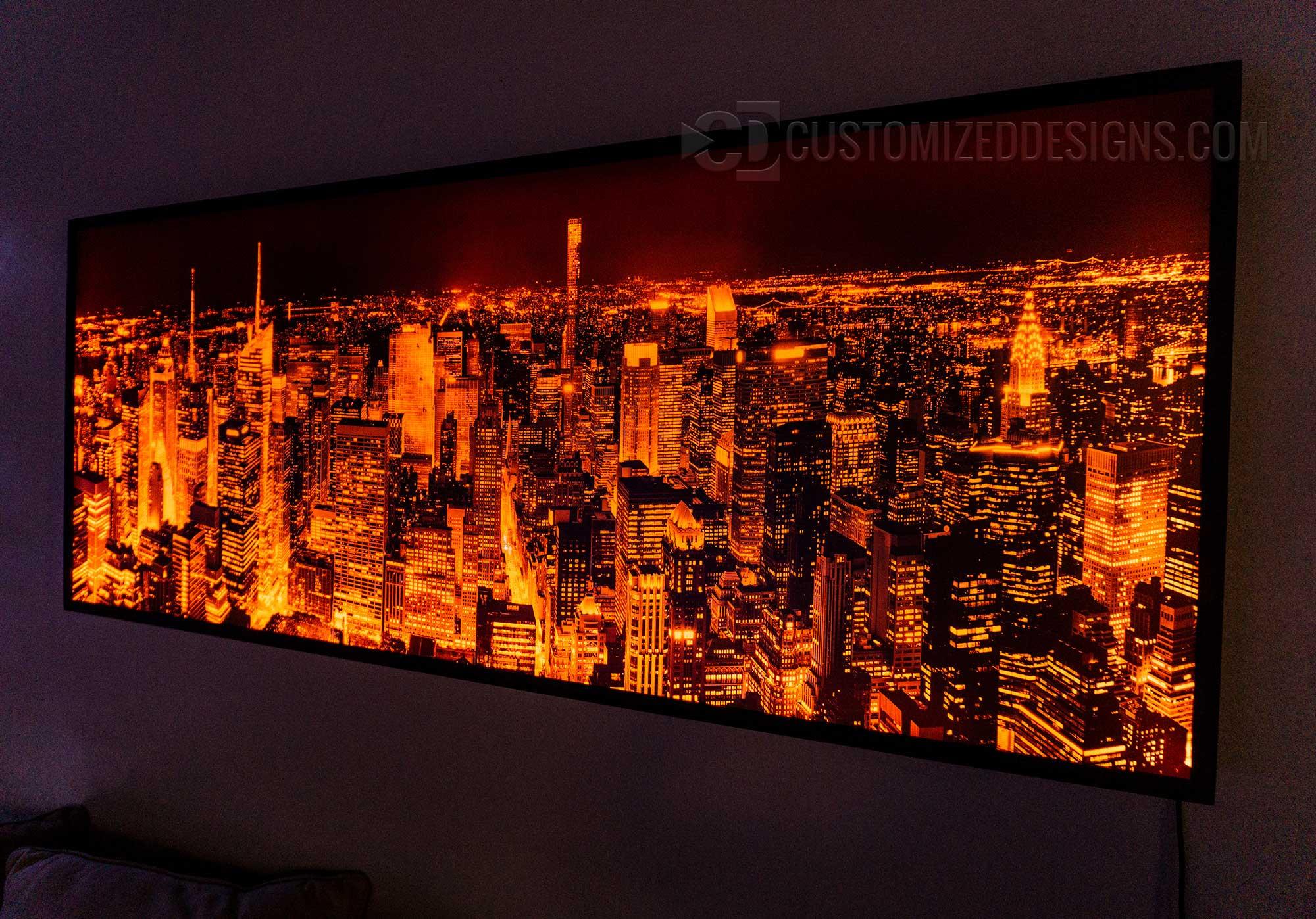 Manhattan New York City Black Amp White Led Lighted Skyline