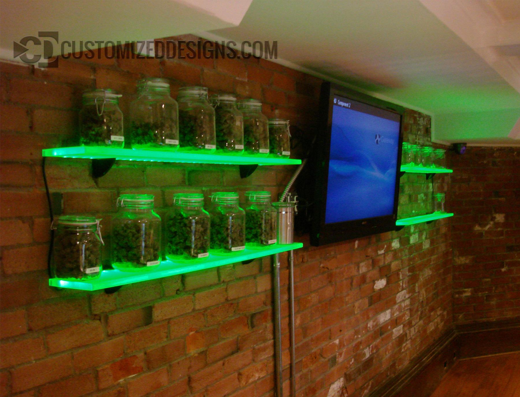 Pot Cannabis Jar Display Shelves