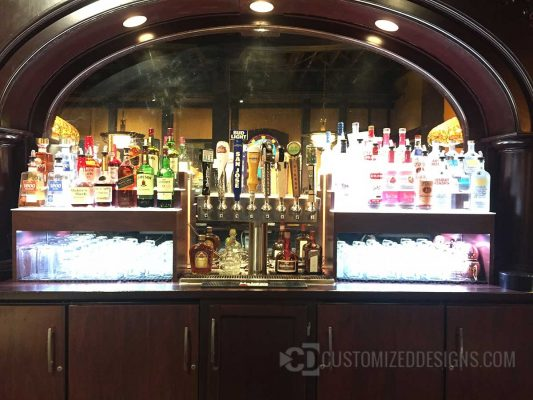 Lighted Liquor Bottle Display with Glassware Storage