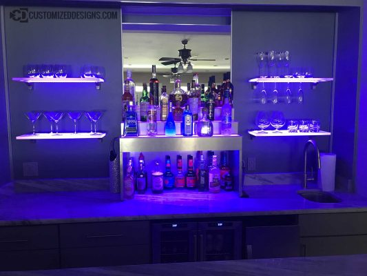 Raised Style Modern Home Bar Display