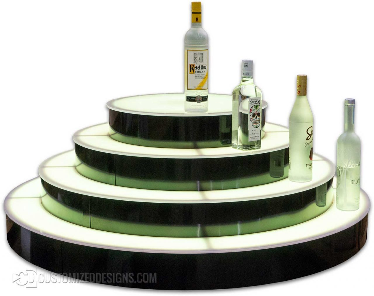 Circular Island Style 4 Tier Lighted Liquor Bottle Display