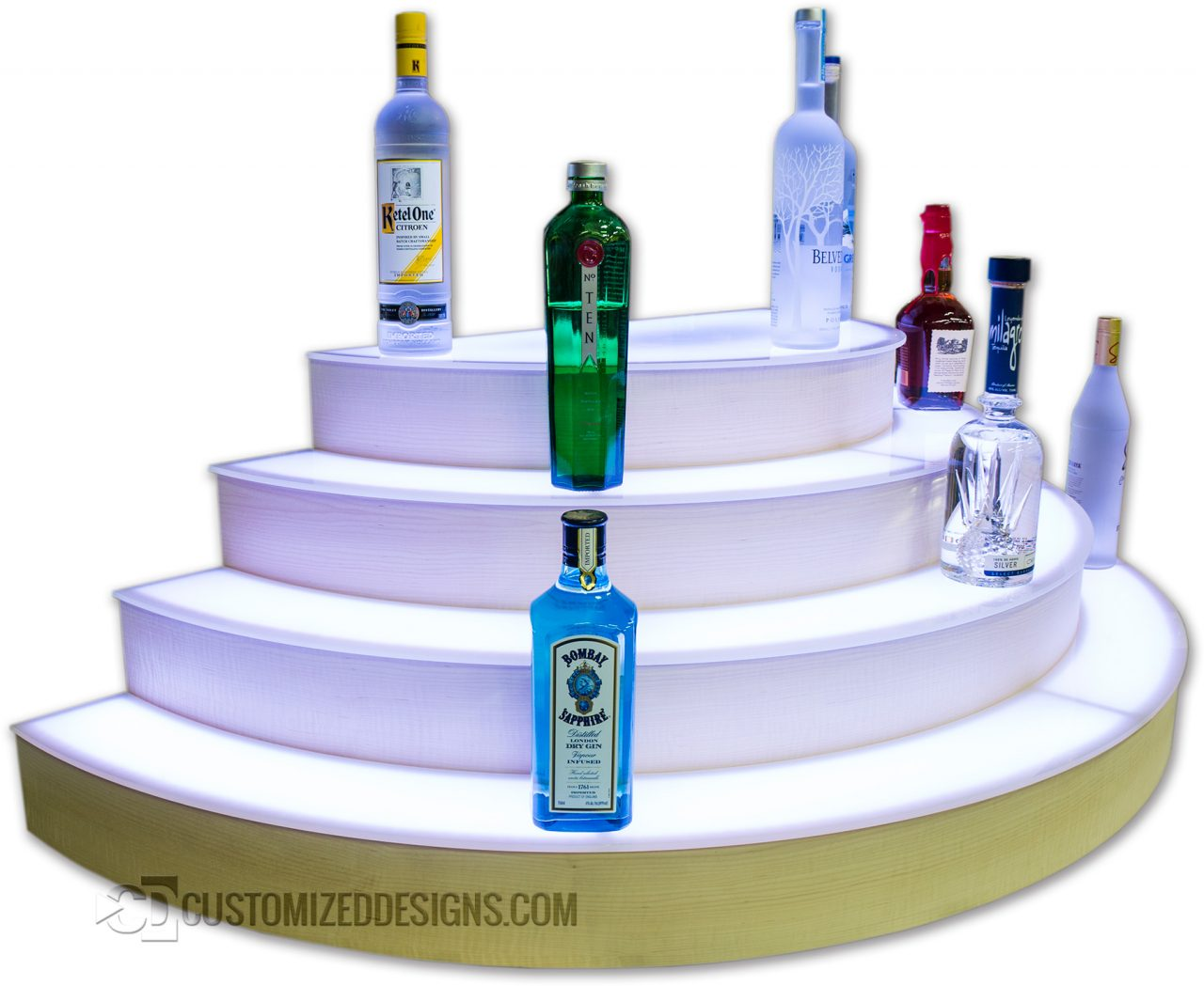 Custom Half Moon Circular Liquor Bottle Shelves - 4 Tier