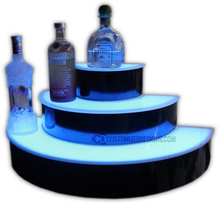 Custom 3 Tier Half Circle Lighted Liquor Display