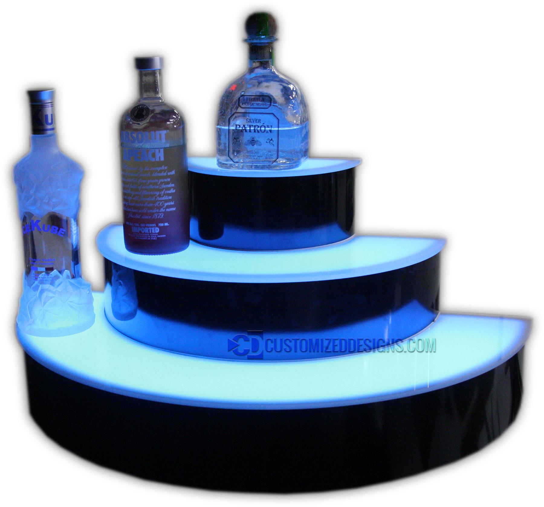 Custom 3 Tier Half Circle Lighted Liquor Display Bar