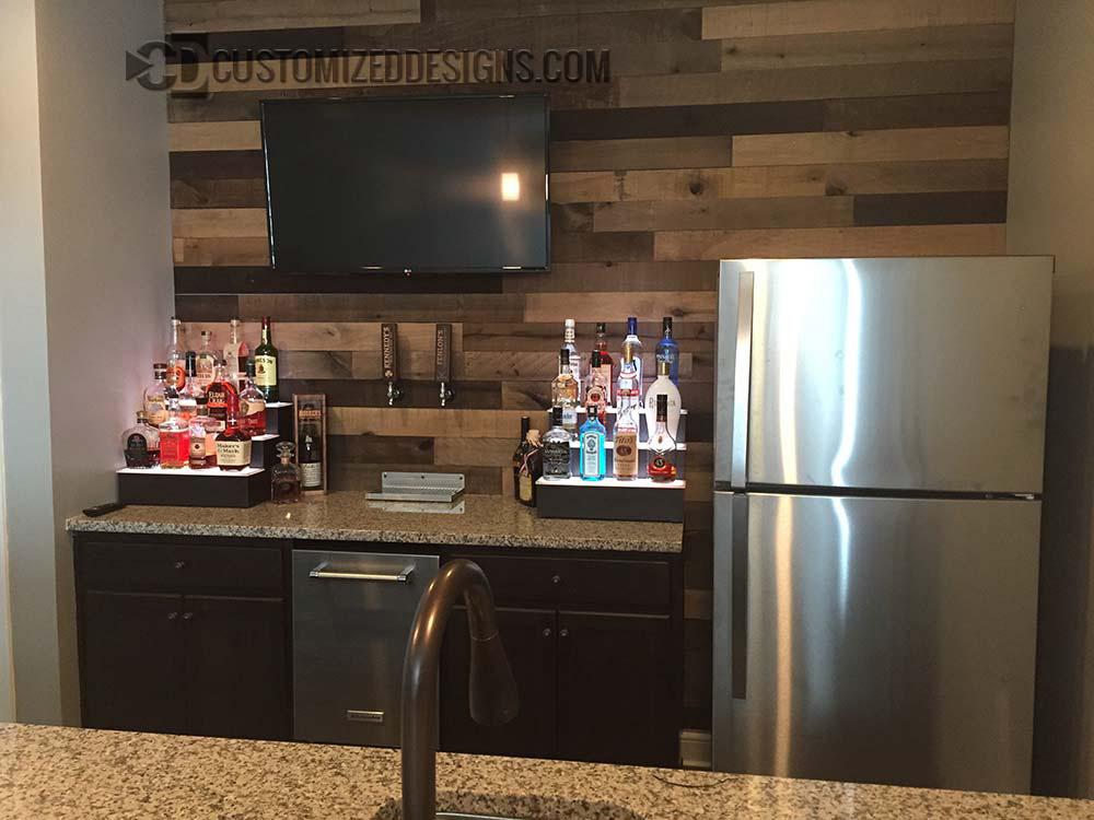 3 Tier Home Bar Shelving w/ Gray Finish