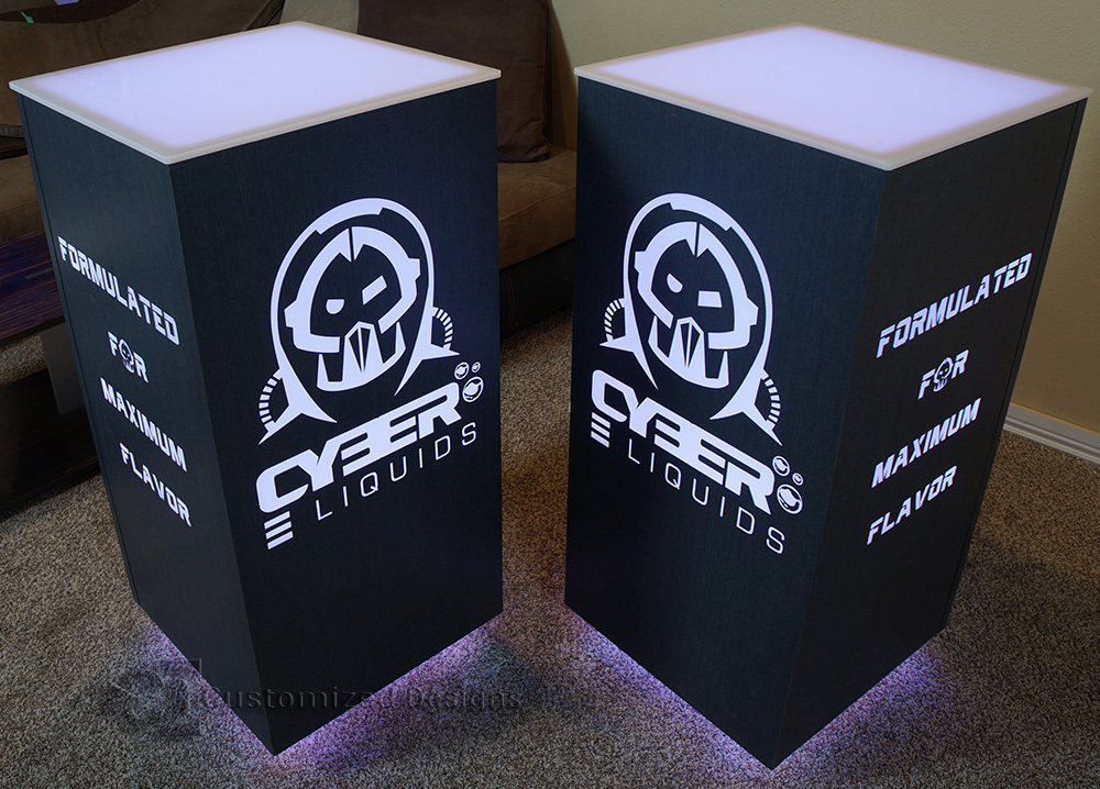 LED Lighted Cubix Tables w/ Cyber Liquids Vape Logos - Sable Finish