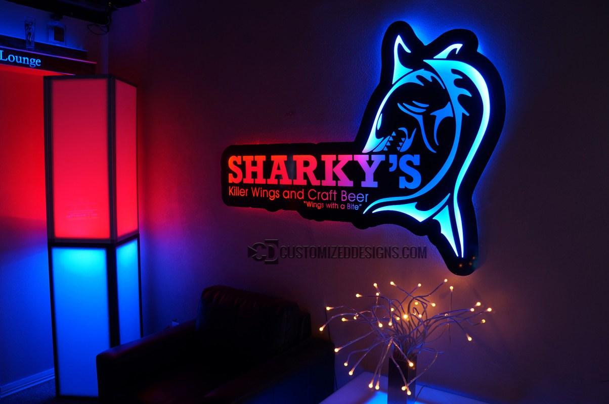 LED Backlit Sign - Sharky's 2