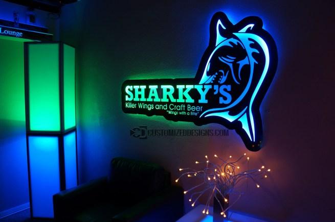 LED Backlit Sign - Sharky's