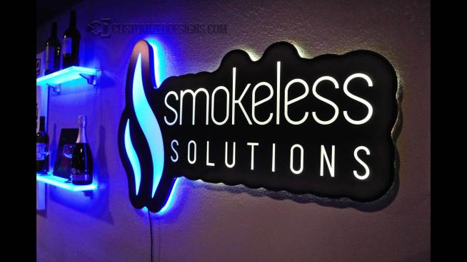 Smokeless Vape Backlit Sign - Shown w/ Dual Zone Lighting