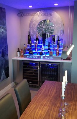 Home Back Bar w/ 4 Tier LED Lighted Liquor Display - Stainless Steel Finish