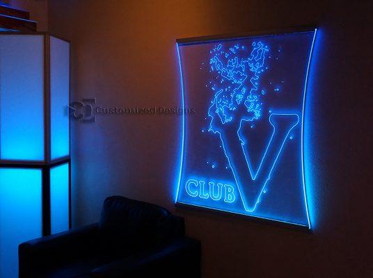 V Club Edge Lit Sign