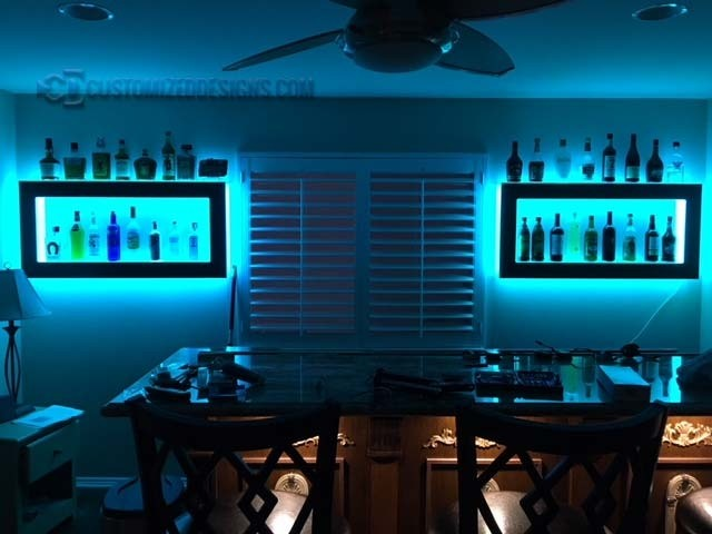 Home Back Bar w/ LED Wall Shelving