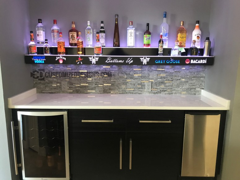 Wall Mounted 2 Tier Bar Display w/ Liquor Logos