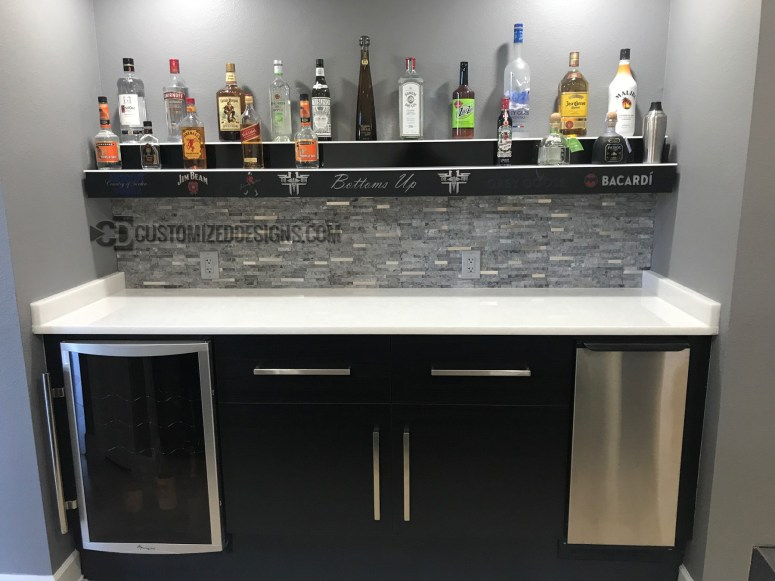 Wall Mounted 2 Tier Bar Display w/ Liquor Logos - Lighting Turned Off