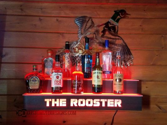 Wall Mounted 2 Tier Liquor Shelf w/ Rooster Logo