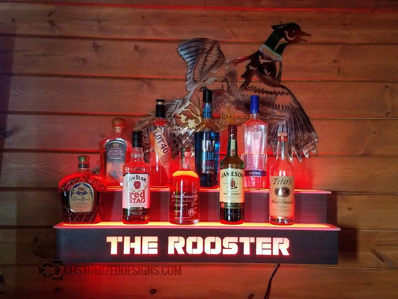 Wall Mounted 2 Tier Liquor Shelf w/ Rooster Logo