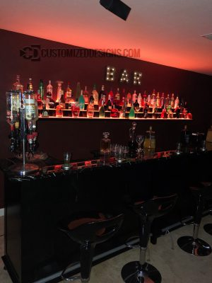 Wall Mounted Three Tier LED Back Bar Shelving