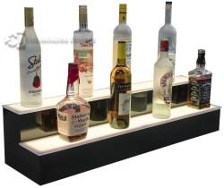 2 Tier Illuminated Liquor Display Shelves - White Lights
