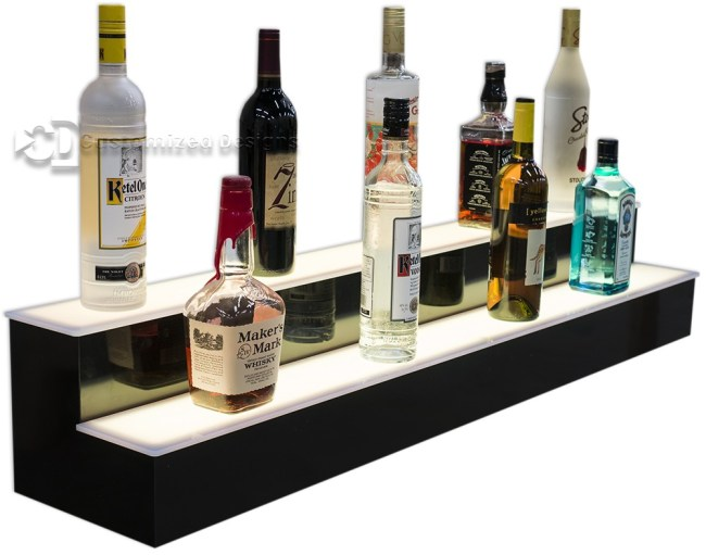 2 Tier Lighted Liquor Shelving w/ Warm White Lights