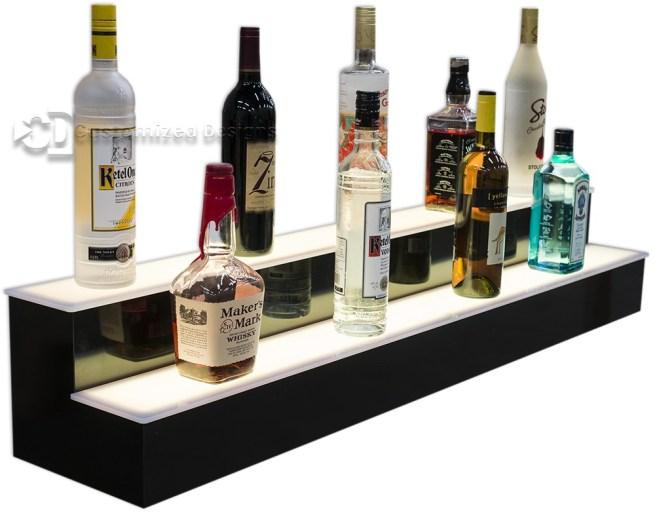 2 Tier Lighted Liquor Shelving w/ Warm White Lights