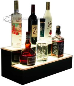 2 Tier Home Bar Liquor Display - Warm White Lighting