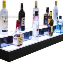 2 Tier Lighted Liquor Shelving w/ White Lights