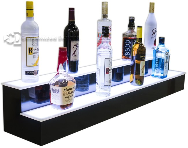 2 Tier Lighted Liquor Shelving w/ White Lights