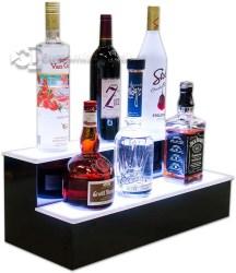 2 Tier Home Bar Liquor Display - White Lighting